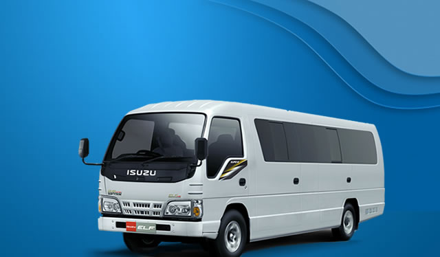 rental Isuzu ELF Long 18 seat